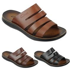 size 40 738e0 03bf0 New Mens Genuine Leather Sandals Beach Walking Jesus Slippers Slider Black  Brown