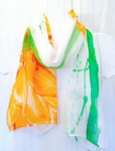 Chiffon Scarf Hand Painted Summer Orange Garbera Flower Scarf. Silk Scarves Takuyo. Silk Chiffon Scarf. 10x54 in. Made to Order.. $38.50, via Etsy.