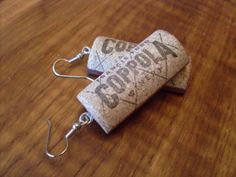 Upcycled wine cork earrings with exotic wood back by ShapelyWood, $10.00