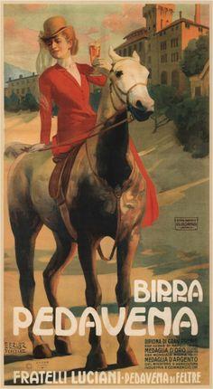 BIRRA PEDAVENA – VINTAGE BEER POSTER. Illustrated Erich Erler (1910).