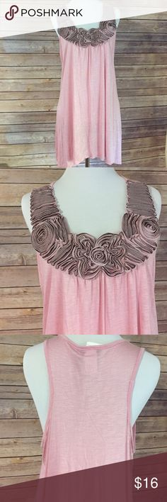 "Pink BoHo flowy tank Darling light pink tank with understated floral accent around the neck. Sz Large, NWT. Bust 36-38, shortest length approximately 30"". T Agenda Tops Tank Tops"