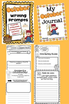 "Your students will ""fall"" into writing with this set of fun, rigorous, and creative writing prompts for October!  Varied writing topics and forms (lists, label the picture, complete the thought bubble, informative, narrative, opinion, how-to, and more!) Use prompts for journals, in a writing center, as morning work, or as a Quick Write. Just print and write!"