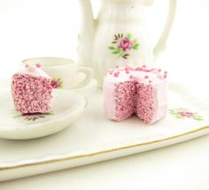 Dollhouse Cake Pink Polymer Clay Miniature 1 Inch Scale 1:12