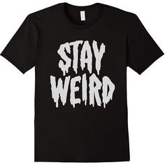 """""""Stay Weird"""" Creepy Cute Pastel Goth Graphic T-Shirt (430 MXN) ❤ liked on Polyvore featuring tops, t-shirts, shirts, graphic print shirts, graphic design shirts, t shirt, graphic shirts and pastel goth shirts"""
