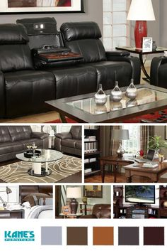 Turn any room into a mighty man cave with oversized leather furniture, wood coffee and side tables and dark wall paint.