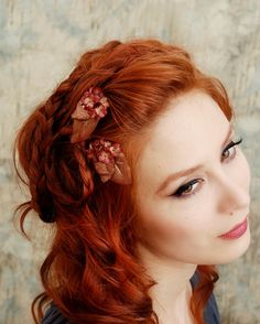 Flower hair clips, bronze flower bobby pin, floral clip set, hair accessories - Morgaine on Etsy, $20.00
