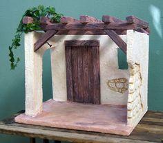 Houses for nativity scenes - Oscar Wallin Christmas Crib Ideas, Christmas Time, Christmas Decorations, Xmas, Christmas Village Display, Christmas Nativity Scene, Nativity Scenes, Home Crafts, Diy Crafts