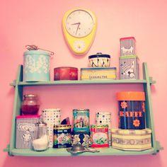 Retro shelf in my small pink kitchen <3 tea, yellow, pastelles, 50s clock