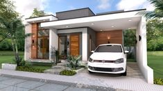 Home Design Plan with 3 Bedrooms. This villa is modeling by SAM-ARCHITECT With 2 stories level. It's has 3 bedrooms.Simple Home Design Modern House Facades, Modern House Plans, Simple House Design, Modern House Design, Modern Contemporary House, Small Modern Home, Casa Top, One Storey House, House Plans One Story