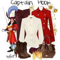 Outfit inspired by Captain Hook from Disney's Peter Pan. Disney Themed Outfits, Disney Bound Outfits, Captain Hook Disney, Peter Pan Outfit, Captain Hook Costume, Disney Inspired Fashion, Disney Fashion, Disney Dress Up, Peter Pan Disney