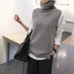 - Turtleneck Knit Vest - Turtleneck Knit Vest History of Knitting String rotating, weaving and sewing jobs such as for instance BC. Sleeveless Turtleneck Outfit, Mode Outfits, Fashion Outfits, Knit Vest Pattern, Long Sweaters For Women, Looks Street Style, Minimal Chic, Winter Sweaters, Pulls