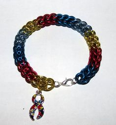Autism Awareness Persian Weave Chainmaille by PawInspiredCreations Autism Awareness Colors, Chainmaille Bracelet, Chain Mail, Persian, Weave, Trending Outfits, Unique Jewelry, Handmade Gifts, Bracelets