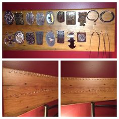 Belt buckle display made from reclaimed wood.