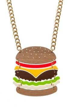 Super Burger Necklace from Tatty Devine - don't know the materials, but the design is great