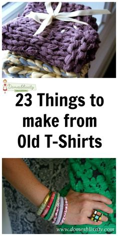 23 things to make from old t-shirts Today, I am tackling my kid's wardrobes and culling their clothes right back to basics. I've been so very, very lucky to have received a lot of hand-me-downs for bo… Fabric Crafts, Sewing Crafts, Sewing Projects, Craft Projects, Burlap Crafts, Craft Ideas, Tee Shirt Crafts, Tshirt Garn, Pillos