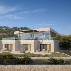 Grundstück mit Projekt für eine Villa mit Meerblick an der Costa den Blanes Villa, Mansions, House Styles, Home Decor, Sevilla Spain, Majorca, Projects, Decoration Home, Manor Houses