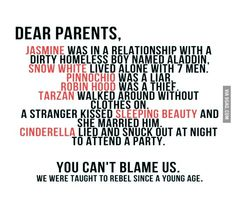 Funny pictures about Dear Parents. Oh, and cool pics about Dear Parents. Also, Dear Parents. Humor Disney, Disney Quotes, Funny Disney, The Words, Funny Texts, Funny Jokes, Hilarious, Rebelle Disney, Teen Quotes