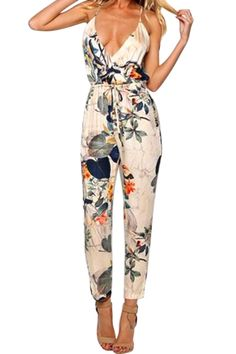 Floral Print Backless Sleeveless Jumpsuit