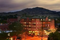 Hotel Boulderado Exterior at Twilight. Boulder, Colorado.