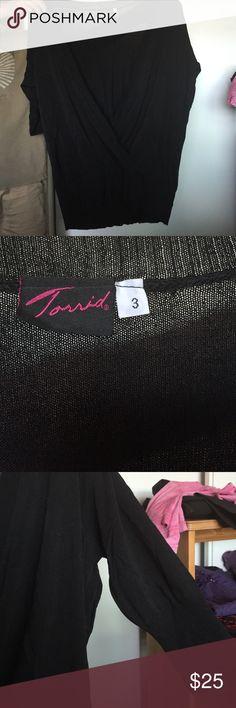 Black sheer torrid 3/4 sleeve blouse with split Lightweight major V front comfy but not for me. Never worn torrid size 3 torrid Tops Tunics