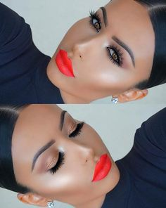 Bright Orange Lips Makeup Look for Summer