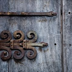 ornamental rusty hinge photography, 12x12 print, wooden doors, architectural detail, blue gray, wood grain, weathered, urban wall decor by bialakura on Etsy https://www.etsy.com/listing/98692630/ornamental-rusty-hinge-photography-12x12