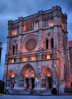 St. Mary's Cathedral Basilica of the Assumption in Covington, KY, USA. The exterior was modeled on Notre Dame de Paris; the interior was modeled on St. Denis.