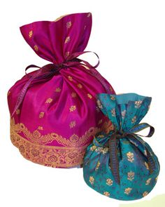 Recycled sari gift pouches to store favors wedding favor pouch