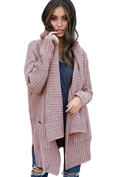 0c72ca8024 US  13.23 Pink Comfy Cozy Pocketed Cardigan Cardigans For Women