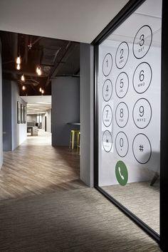 Glass partition | Floor texture | Colors | Contrast | Lighting | Macrokiosk Office Design