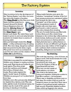 Workers During the Industrial Revolution Article and Worksheet ...