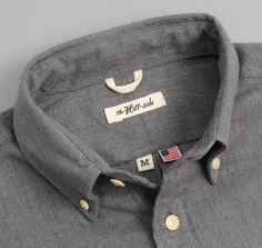 THE HILL-SIDE  SH1-184 - Nep Twill Flannel Button-Down Shirt, Grey