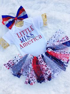 LITTLE MISS AMERICA 4th of July onesie, July 4 top newborn-3Y baby sparkle shirt, red white blue girl 4th of July outfit