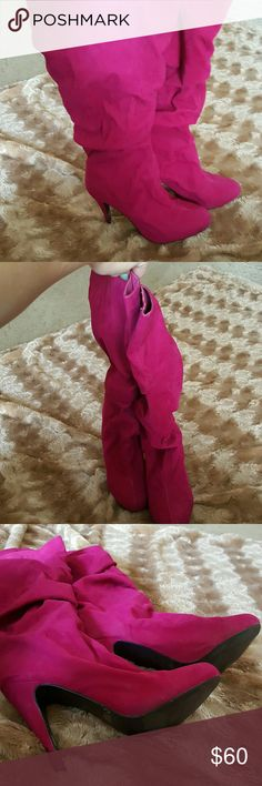 Beautiful pink knee boots Hard to find these boots! Soft velvet material, 3 in heel. Worn once. Mixx Shoes Heeled Boots