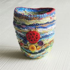 Fabric container, vessel, vase cover, stitched with doily and buttons | Bekahdu Handmade | madeit.com.au