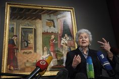 MOSCOW.- Irina Antonova, Director of the Pushkin Fine Arts Museum, speaks in front of a masterpiece by Vittore Carpaccio at a news conference on celebrations marking the museums 100th anniversary in Moscow, Friday, April 27, 2012. The museum, celebrating its 100th anniversary, is renowned as having one of Russias most comprehensive collections of international art and is one of Moscows prime tourist draws. AP Photo/Alexander Zemlianichenko.