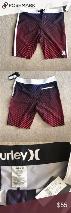 Hurley Phantom Swim Shorts Hurley Phantom Swim Shorts. Black, white, purple, and Red. NWT. Size 33. Hurley Swim Board Shorts