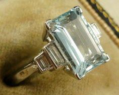 Antique Aquamarine ring by Lesliemarch Antique Aquamarine Ring, Aquamarine Jewelry, Emerald Rings, Ruby Rings, Art Deco Jewelry, Jewelry Rings, Fine Jewelry, Stylish Jewelry, Jewelry Ideas