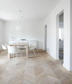 Beautiful floors zomg. and that lightshade. and the chairs. so cute. Scandinavian interiors