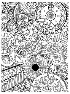 Free coloring page coloring-adult-zen-anti-stress-mechanisms-to-print. Coloring page with mechanisms