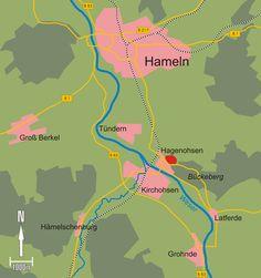 Lage des Reichserntedank-Festplatzes bei Hameln mit den Verkehrswegen der An- und Abreise (Straße, Schiene, Fluss) http://de.m.wikipedia.org/wiki/Reichserntedankfest#