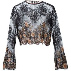 Alessandra Rich Embellished Lace Blouse (€1.405) ❤ liked on Polyvore featuring tops, blouses, black, lace embellished top, alessandra rich, lacy blouses, embellished blouse and lace top