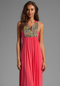 T-BAGS LOSANGELES Embellished Tribal Maxi Dress in Coral - Dresses