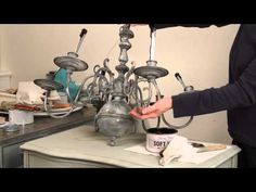 This is the last installment of our 3 part video series where we transform an ordinary inexpensive brass chandelier using chalk paint. In this tutorial I Brass Chandelier Makeover, Lampshade Chandelier, Lampshades, Furniture Makeover, Diy Furniture, Furniture Refinishing, Distressed Furniture, Painted Furniture, Chalk Paint Techniques