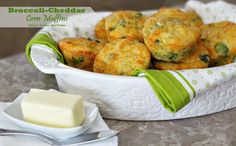 Broccoli-Cheddar Corn Muffins - Delicious served with soup, stew, beans or as the bread of choice with any meal. So simple, so tasty!