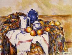 Still Life with Blue Pot Artwork by Paul Cezanne Hand-painted and Art Prints on canvas for sale,you can custom the size and frame
