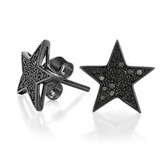 Black Rhodium Push Back CZ Black Micro Pave Star Earrings 12mm