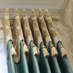 雅熙莱帝 高档奢华欧式荷兰绒金丝绳绣窗帘客厅卧室定制潘娜洛普