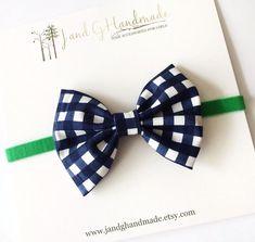 Baby/Child/Girl Navy Gingham Fabric Hair Bow Headband, White Navy Blue and Green Velvet Hair Bow Headband or Clip, Child Checkered Hair Bow