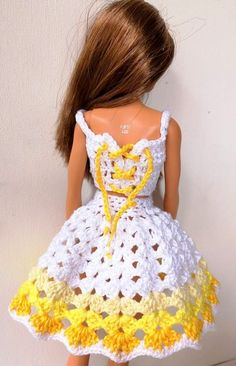 Knitted Doll Patterns, Crochet Shrug Pattern, Knitted Dolls, Barbie Clothes Patterns, Doll Dress Patterns, Clothing Patterns, Crochet Doll Dress, Crochet Barbie Clothes, Barbie Dress